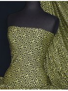 Viscose Cotton Stretch Lycra Fabric- Lorna Yellow/Black Maze VSC10 YLBK