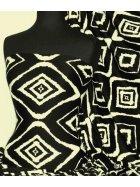 Viscose Cotton Stretch Lycra Fabric- Lauren Black/Beige Diamond VSCP15 BKBGE