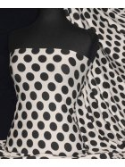 Viscose Cotton Stretch Polka Dots Lycra Fabric- Leah Ivory/ Black Q599 IVBK