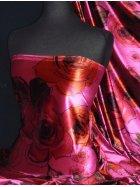 Velvet Spandex Fabric Luxuriously Soft Velvet Material- Cerise/Orange Flower PVEL23 CRSOR