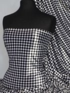 Black/White Dogtooth Velvet Spandex Fabric Luxuriously Soft Velvet Material