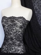 Lace Scalloped Flower 4 Way Stretch Fabric- Black Q891 BK