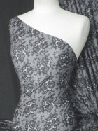 Grey Floral Subtle Shimmer Sheer Stretch Fabric