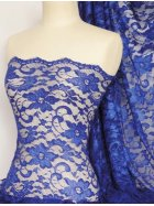 Clearance Lace Scalloped Floral Stretch Lycra Fabric- Royal Blue SQ204 RBL