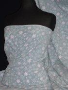 Polar Fleece Anti Pill Fabric- Winter Wonderland Soft Mint/White Snowflake PPFL42 SMNT