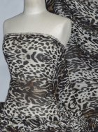 Chiffon Soft Touch Sheer Fabric - Leopardess PCH23 BRBK