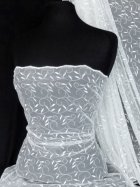 Leaf Embroidered Tulle Net Fabric - White SQ59 WHT
