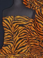 Polar Fleece Anti Pill Washable Soft Fabric- Orange/Black Zebra Q816 ORBK