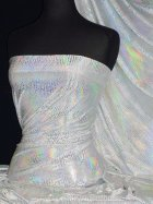 Hologram Rainbow Foil Stretch Spandex - Anaconda White HMLYC63 WHTSLV