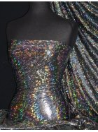 Hologram Rainbow Foil Stretch Spandex - Galaxy Disco Black HMLYC64 BKSLV