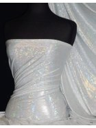 Hologram Rainbow Foil Stretch Spandex - Galaxy Disco White HMLYC64 WHTSLV