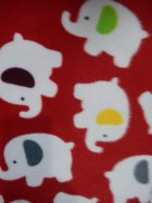 Polar Fleece Anti Pill Washable Soft Fabric- Red Baby Elephants Q1332 RDWHT