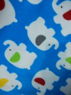 Polar Fleece Anti Pill Washable Soft Fabric- Sky Blue Baby Elephants Q1332 SKBLWHT