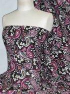 100% Viscose Light Weight Sheer Fabric- Cocktail Paisley Pink PVSC173 BKPN
