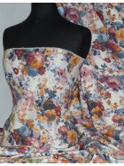 Denim Cotton Slight Stretch Material- Floral Canvas DNMP179 WHMLT