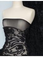 Swirl Applique Power Mesh 4 Way Stretch Fabric- Black Q173 BK