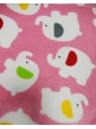 Polar Fleece Anti Pill Washable Soft Fabric- Pink Baby Elephants Q1332 PNWHT