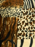 Polar Fleece Anti Pill Washable Soft Fabric- Animal Print Patchwork Q1385 BR