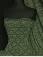 Lace Rose Flower Stretch Fabric- Khaki Q963 KH