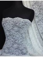 Angel White Flower Scalloped 4 Way Stretch Lace Fabric Q891 AWHT