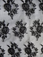 100% Polyamide Floral Lace Fabric- Black SQ73 BK