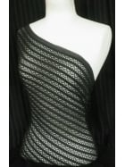 Clearance Knitted Non-Stretch 100% Polyester Fabric- Black Stripe CL KNBK