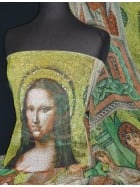 Chiffon Soft Touch Sheer Fabric- Mona Lisa Mosaic CHF182 MLT