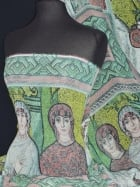 Chiffon Soft Touch Sheer Fabric - Cathedral Mosaic Green CHF181 GRMLT