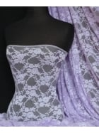 Flower Stretch Lace Fabric- Lilac Q137 LLC