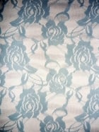 Lace Rose Flower Stretch Fabric- Sky Blue Q963 SKBL