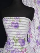 Damask Rose Frilly Semi Sheer Material Fabric- Lilac Q142 LLC