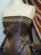Brocade Japanese Jacquard Print Dress Fabric- Royal Blue Multi Q611 RBL