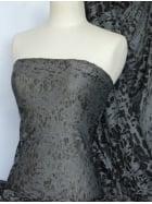 Viscose Burnout Stretch Fabric- Black/Grey Cloud Q974 BKGR