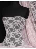 Flower Stretch Lace Fabric- Pastel Pink Q137 PN