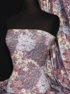 Soft Touch 4 Way Stretch Lycra Fabric- Blue Paisley Q375 BL