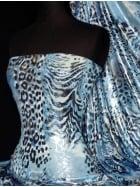 Silk Touch Silver Foil 4 Way Stretch Fabric- Blue Leopard Q669 BL
