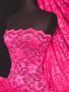 Lace Scalloped Floral Stretch Lycra Fabric- Flo Cerise Q615 FLCRS