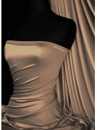 Clearance (115 cms Width) Satin Shiny Lycra Medium-Heavy Weight Stretch Material- Mocha SQ117 MCH