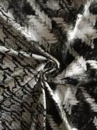 Viscose Cotton Stretch Lycra Fabric- Dogtooth VSC254 BKGR