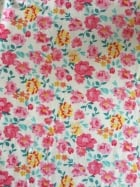 100% Viscose Woven Non-Stretch Material- Summer Florals Pink/Yellow VSC244 PNYL