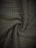 Knitted Crochet Lace 4 Way Stretch Fabric Material- Black SQ135 BK
