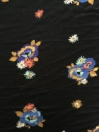 Viscose Cotton 4 Way Stretch Lycra Fabric- Black Flower Bouquet SQ147 BKMLT