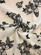 Georgette Chiffon Soft Touch Sheer Fabric - Butterfly Family Ivory CHF248 IVBK