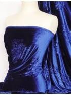 Velvet Spandex Fabric- Royal Blue Embossed Q978 RBL