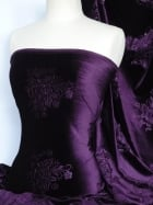 Velvet Spandex Fabric- Purple Embossed Q978 PPL