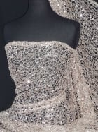 Crochet Knit Spider Web Sequin Lace Fabric- Rose Gold SQ158 RSGLD