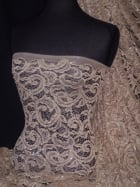 Sequined Lace Soft Handle Stretch Dress Fabric- Golden Musk SQ159 GMSK
