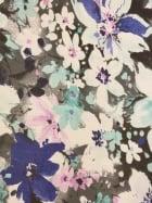 Georgette Chiffon Soft Touch Sheer Fabric - Aqua Blue/Grey Floral Print CHF249 AQGR