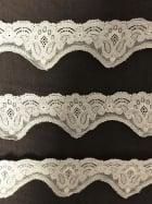 Lace Scalloped Floral Design Trim- Cream SY194 CRM