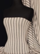 Viscose Cotton Stretch Fabric- Nude/Grey Stripe Q1152 NDGR